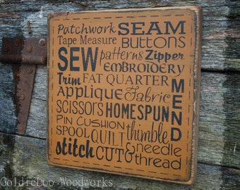Sew & Stitch Word Art wood wall  sign, Typography