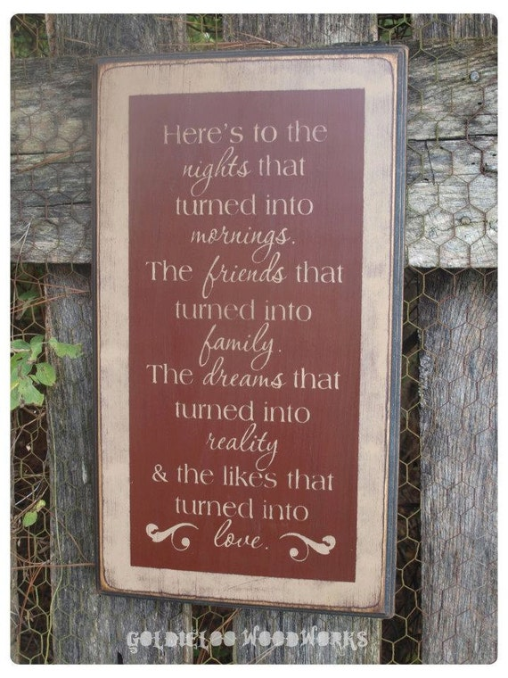 Here's To The Nights, Primitive Word Art Wood Wall Sign