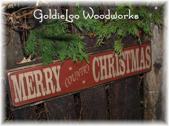 Primitive, Folk Art , Merry Country Christmas  wall sign
