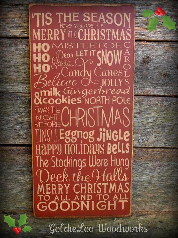 Tis The Season, Christmas Wood Wall Sign, Typography, Word Art, Subway Art, Primitive