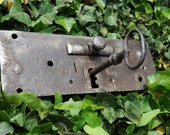 Huge Antique French Iron Lock and Two Keys - Chateau Sized - Reserved for Marjorie
