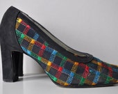 Vintage French Shoes - Colourful Mesh and Black Suede - Size 5.5 (35.5) - Paris