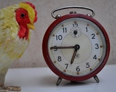 Vintage French Retro Red Alarm Clock