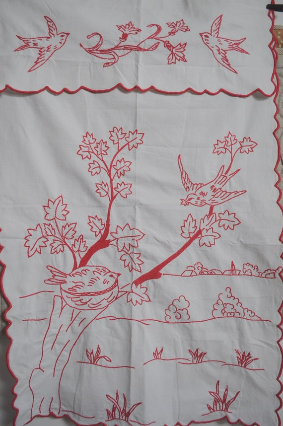 Vintage French Cache Torchon - Hand Embroidered Cotton French Decor Panel.- Red Birds