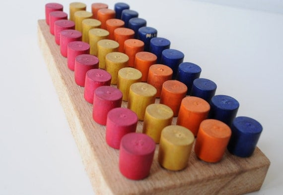 Vintage School Equipment - Colorful French Wooden Pegs and Board