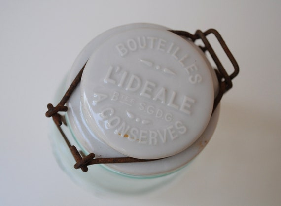 Vintage French Conserve Glass Jar with Embossed Porcelain Lid