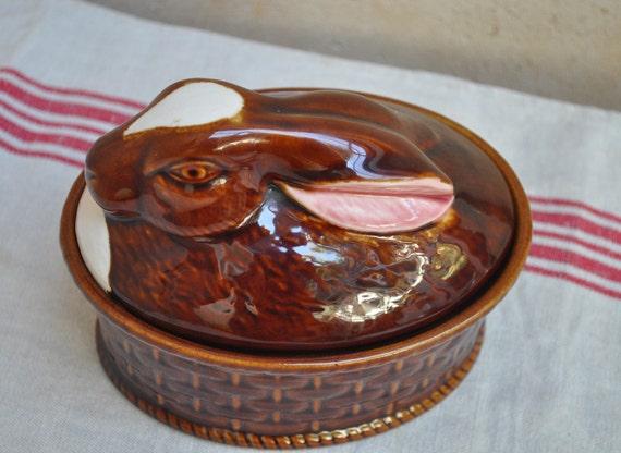 Vintage Ceramic Dish  - Rabbit Terrine