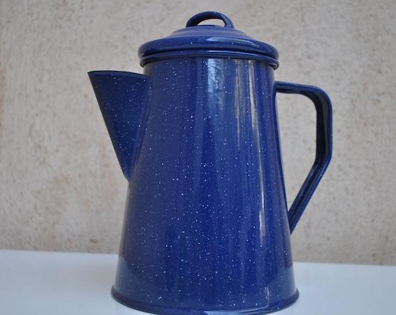 Vintage French Coffee  Pot - Cobalt Blue Enamelled - 2.5 Pint Size