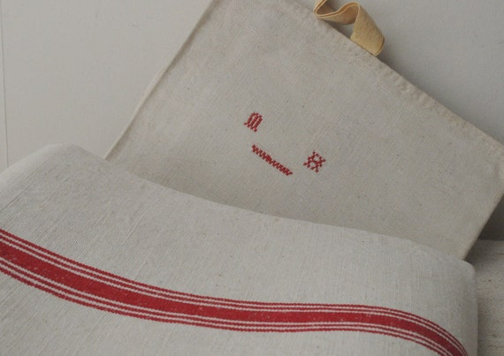 French Vintage Linen Cloth with Multiple Red Stripe and Monogram