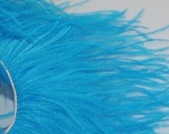 4 inches - BLUE Ostrich Fringe Trim