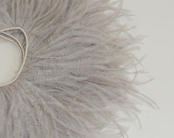 NEW Color - 4 inches - Gray Ostrich Fringe Trim