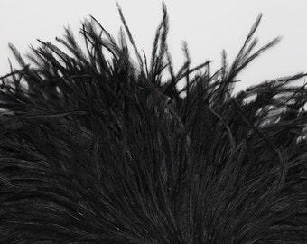 4 inches - Black Ostrich Fringe Trim