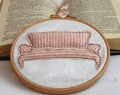 Embroidery Hoop Vintage Home Wall Decor Pink Striped Sofa Freehand Machine