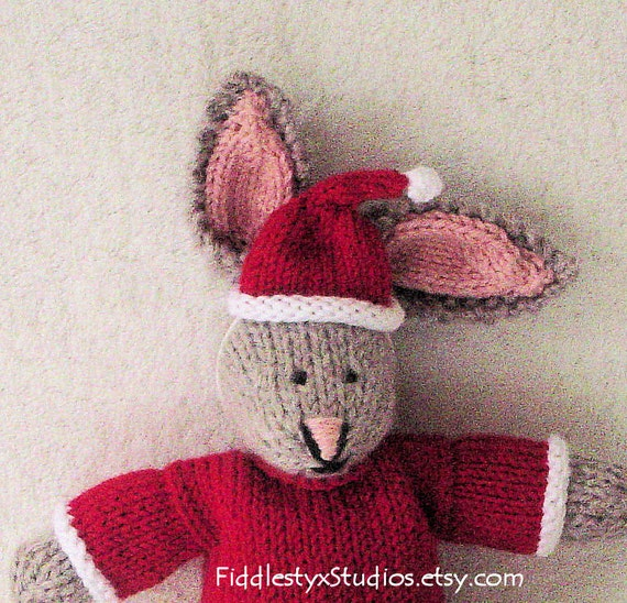Children Christmas Toy - Hand Knitted Toy Rabbit - Hand Knit Bunny Soft Toy Stuffed Animal (Ready to Ship)