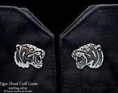 Tiger Head Cuff Links Sterling Silver