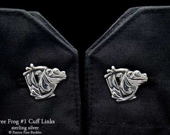 Tree Frog 1 Cuff Links Sterling Silver