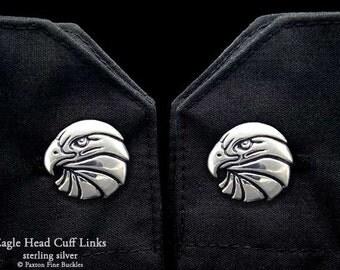 Eagle Head Cuff Links Sterling Silver