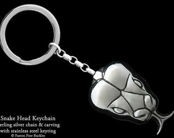 Snake Head Keychain / Keyring Sterling Silver