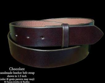Chocolate Handmade Genuine Leather Belt Strap