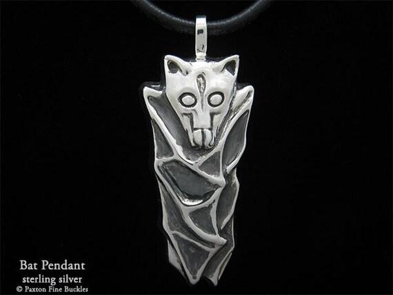 Bat Pendant Necklace Sterling Silver