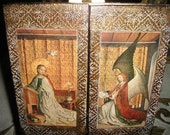 Reserved for Mandy Rare Unique Catholic Christian Virgin Mary Madonna&Child w/Angels Religious Italian Florentine Triptych Icon