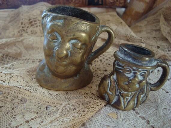 Vintage Rare Pair BrassToby Mugs Miniature British Shabby fab.