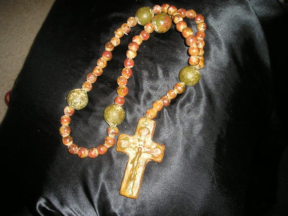 Large Religious Folk Art Stone Clay Rosary By Frenchbluevelvet
