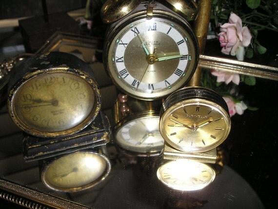 Vintage Trio of old Desk,Dresser/Vanity top Clock's Shabby Cottage chic.