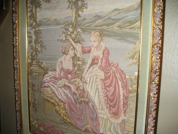 Vintage Chic French Court Victorian Ladies  Framed Pastel Coloured Tapestry/Gobelin Wall Hanging