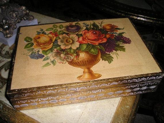 Beautiful old Lg.Italian Florentine Gilt wood Roses Jewelry,Trinket ,Keepsake Boudoir Box For Mother...