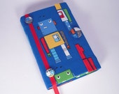 Book of Mormon - Pocket Scriptures Fabric Covered - Robots on Blue Fabric - Young Boy's Fabric - Mini Book of Mormon