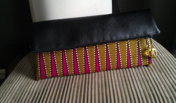 African Wax Print and Vegan Leather Clutch