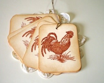 Rooster Gift Tags,  Favor Tags, Pricing Tags, Everyday Tags