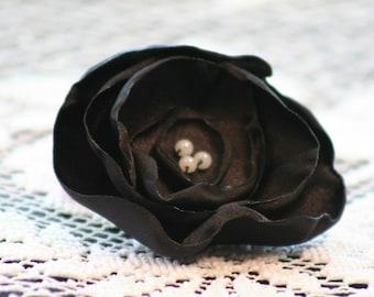 Black Satin Flower Hair Clip