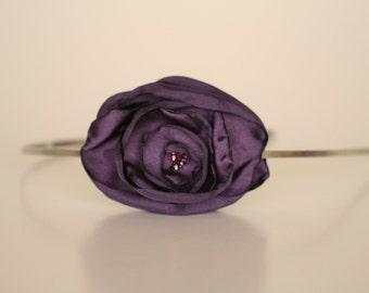 Purple Satin Flower Headband