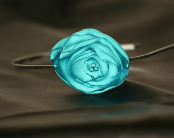 Turquoise Satin Flower Headband