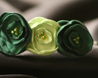 Green and Lime Satin Flower Headband