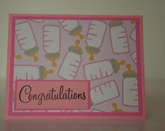 Baby Girl Card- Congratulations w/ Baby Bottles
