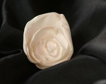 White Satin Flower Hair Clip