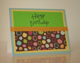 Birthday Card-  Colorful Polka Dots and Circles