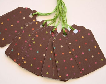 Brown and Colorful Polka Dot Gift Tags (10)