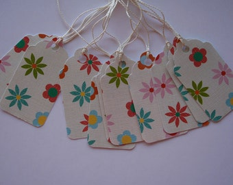 Flowers on Cream Gift Tags (10)