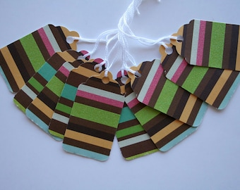 Glitter Stripes Gift Tags (10)