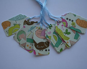 Birdies on Cream Gift Tags (10)