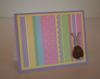Easter Card-  Easter Stripes w/ Brown Bunny