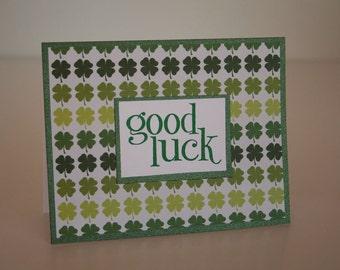 St. Patrick's Day Card-  Good Luck Shamrocks