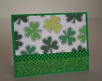 St. Patrick's Day Card-  Large Shamrocks