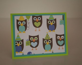 Birthday Card-  Owls