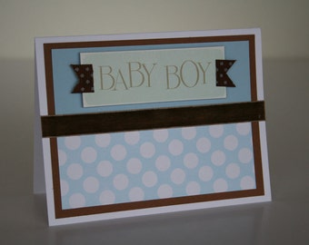 Baby Boy Card-  Blue and White Polka Dots
