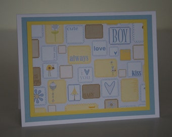 Baby Boy Card-  Embossed Stamps